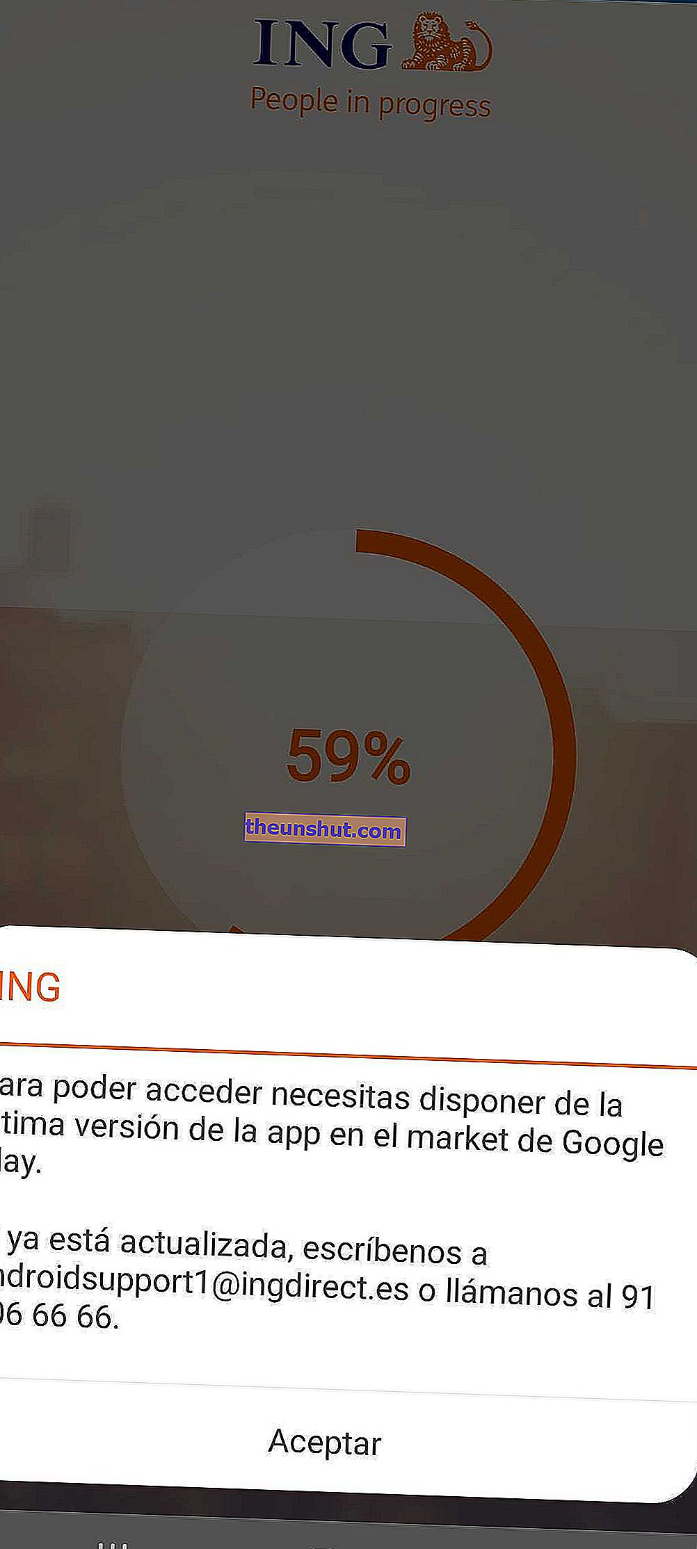 Errore dell'app ING Direct
