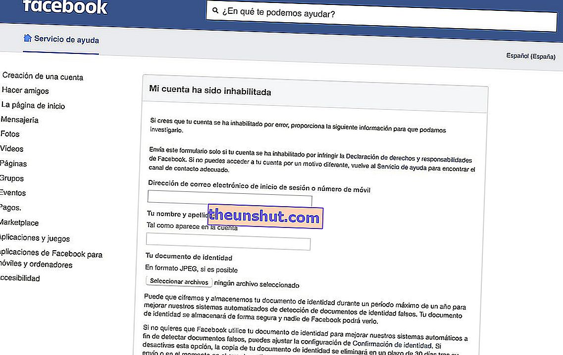 recuperare l'account Facebook disabilitato