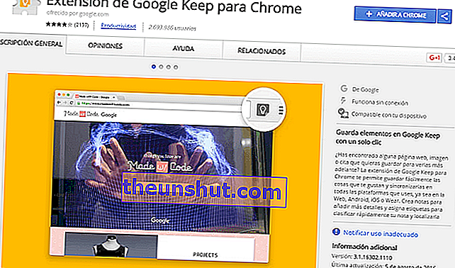 estensione google keep